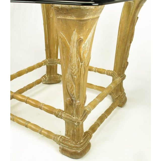 Limed Alder Center Table with Carved Wheat Relief and Glass Top - Image 9 of 10