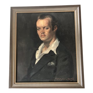 Listed Original Male Portrait Painting by Alfred James Dewey For Sale