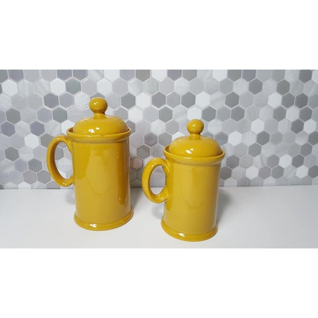 1970s Vintage Peasant Village Canister With Lid and Handle Ceramic Canister Jars - a Pair For Sale - Image 4 of 12