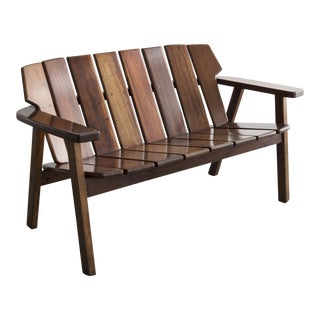 Slatted rosewood bench For Sale