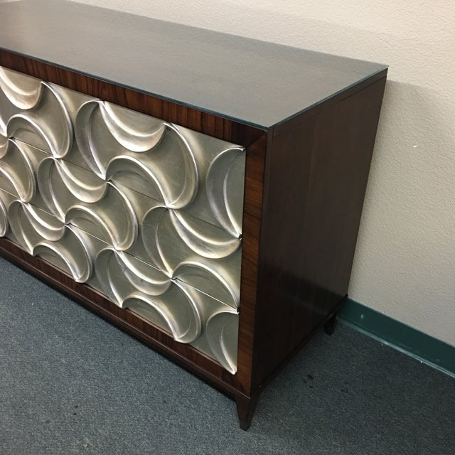 Contemporary Caracole Rosewood & Silver Tie One On Three Drawer Chest For Sale - Image 3 of 11
