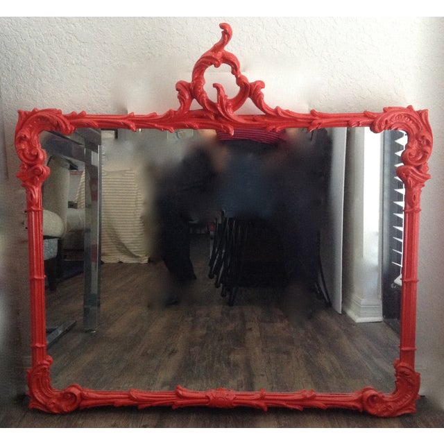 Antique French Red Lacquered Mirror - Image 10 of 11