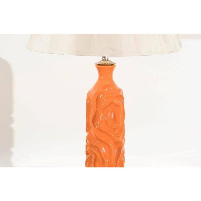 Vibrant Pair of Modern Tangerine Ceramic Lamps For Sale In Atlanta - Image 6 of 11