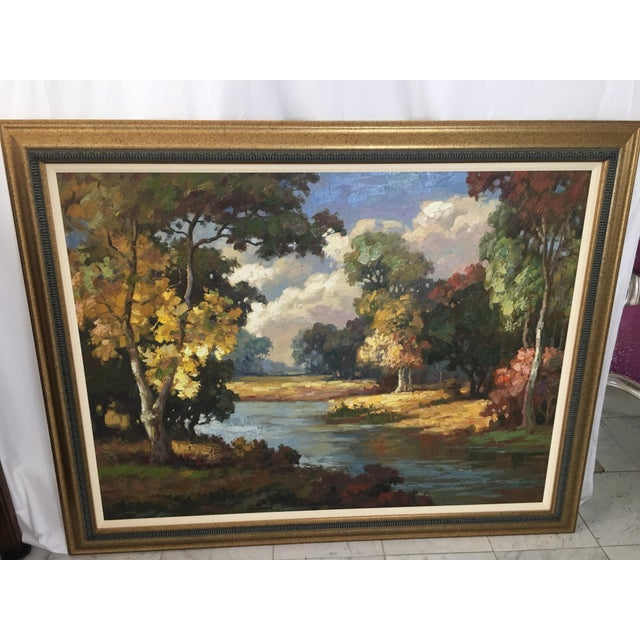 2000 - 2009 Late 20th Century Oil on Canvas Landscape Painting For Sale - Image 5 of 10