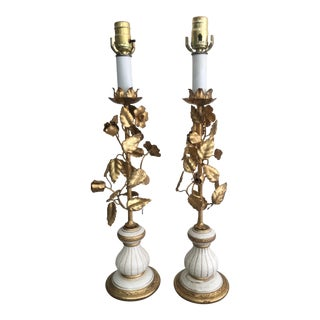 Mid-Century Hollywood Regency Style Italian Gilt Metal Tole Lamps - a Pair For Sale