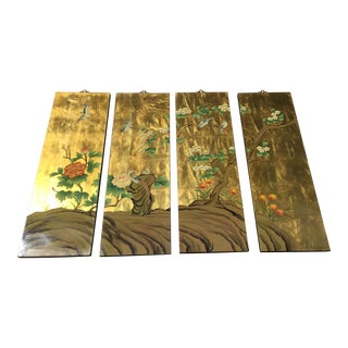Japanese Four-Panel Gold Leaf Screen For Sale