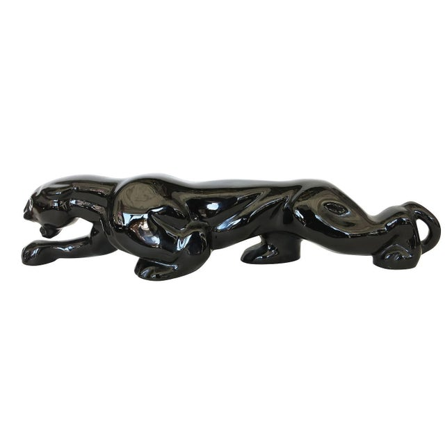 Mid-Century Black Panther Art Pottery Lamp - Image 2 of 5