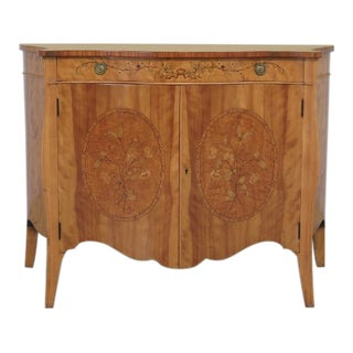 1930s Antique Robert Irwin Edwardian Style Satinwood Inlaid Commode For Sale