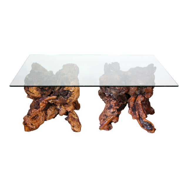 1970s Organic Modern Large Solid Redwood Burl Root Coffee Table For Sale