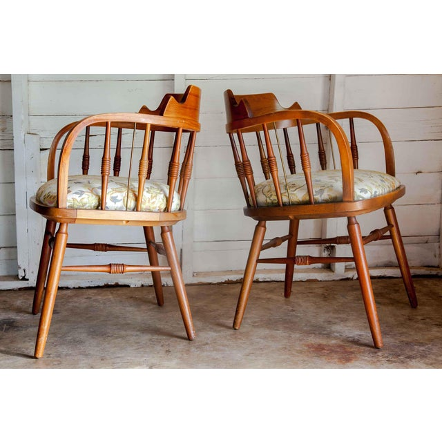Brown 1950s Vintage Drexel Barrel Dining Office Accent Arm Chairs- Pair For Sale - Image 8 of 13