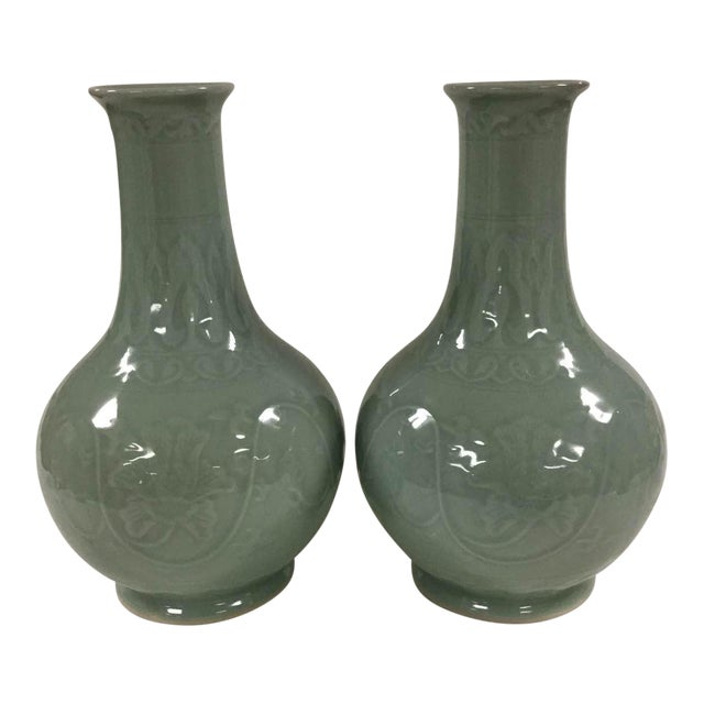 Floral Celadon Vases - A Pair - Image 1 of 6