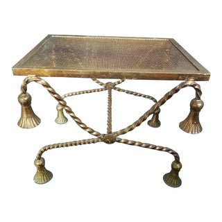 Hollywood Regency Italian Gilt Tole Rope Tassel Bench For Sale