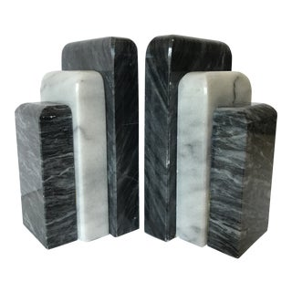 Black and White Marble Bookends
