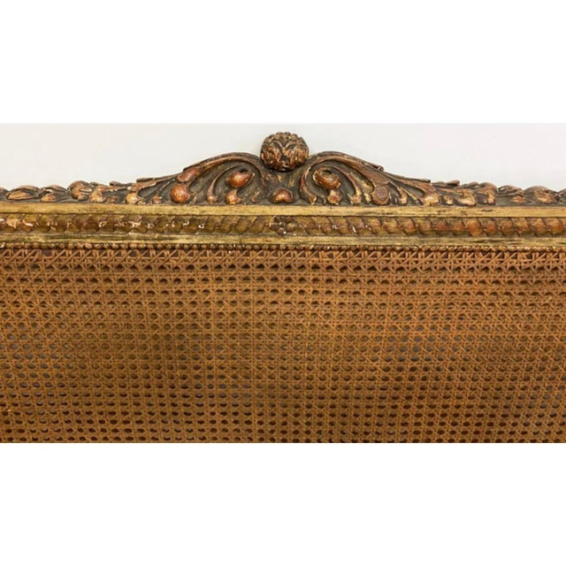 Late 19th Century 19th Century French Napoleonic Double Caned and Giltwood Settee For Sale - Image 5 of 13