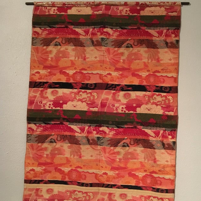 Vintage Japanese Silk Wall Tapestry For Sale - Image 7 of 7
