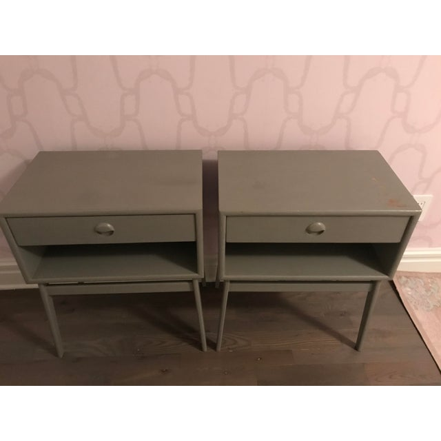 Set of 2 Mid-Century Modern nightstand With Round Pull Handles. Hand made and hand painted Solid wood legs and frame ,FSC...