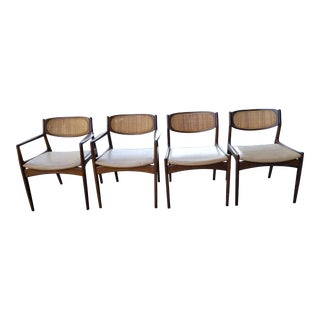 Mid-Century Modern Selig Danish Cane Dining Chairs by Ib Kofod Larsen- Set of 4 For Sale