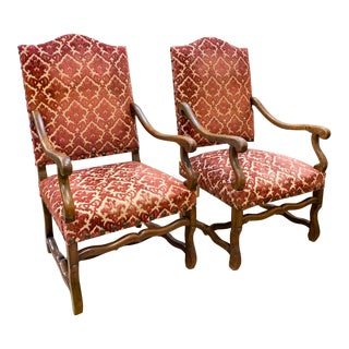 Pair, 1940's Spanish Revival Armchairs With Nail Heads For Sale