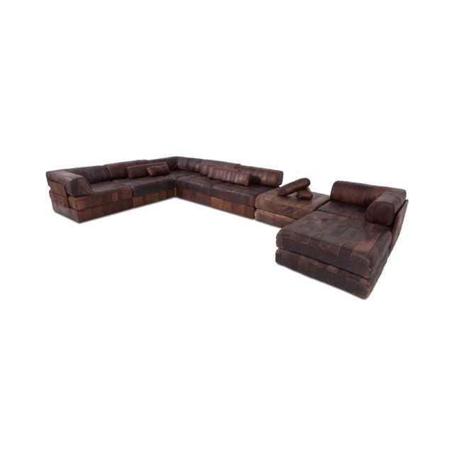 1970s De Sede Ds88 Modular Brown-Cognac Leather Patchwork Sofa For Sale - Image 5 of 8