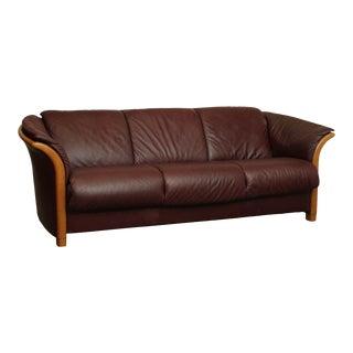 Ekornes Leather Manhattan Sofa For Sale
