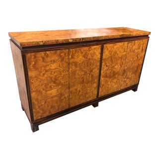 Vintage Burl Wood Credenza With Rosewood Trim For Sale