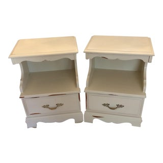 Shabby Chic Mid-Century Modern Nightstands - a Pair For Sale