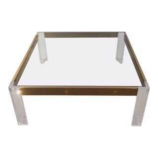Vintage Lucite & Brass Coffee Cocktail Table For Sale