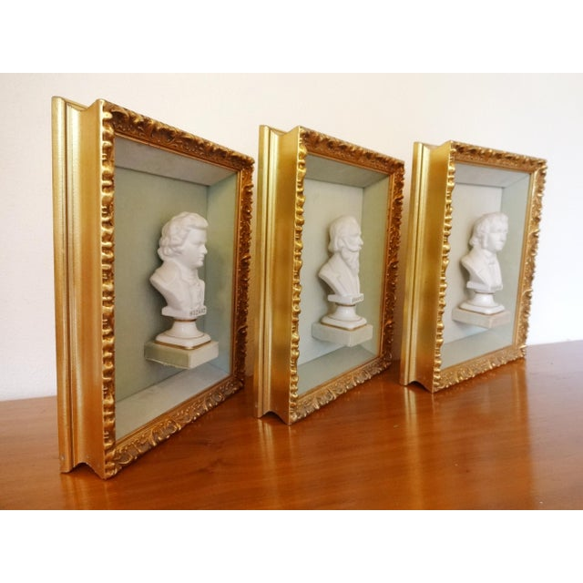Pistachio Framed Bust Portraits of Classical Composers - Set of 3 For Sale - Image 8 of 13