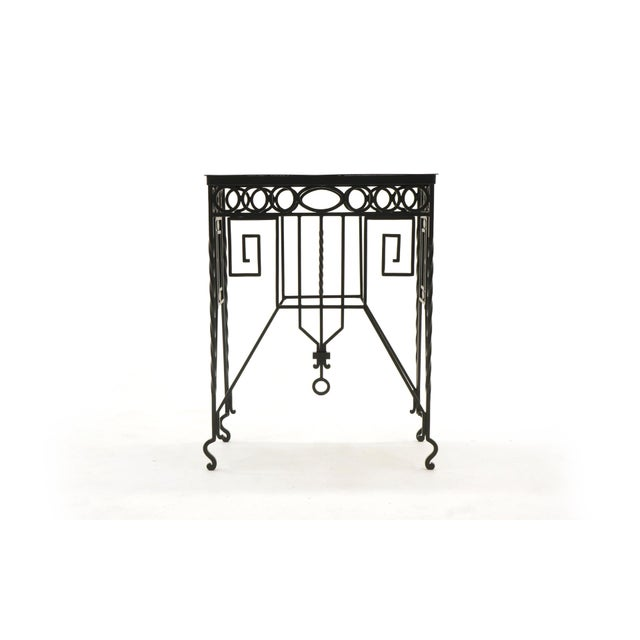 Beautifully crafted Mission / Arts & Crafts wrought iron table. About 33 inches tall. Can be used indoors or outdoors. We...