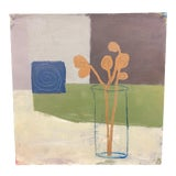 Image of Contemporary Abstract Still Life Oil Painting on Paper For Sale