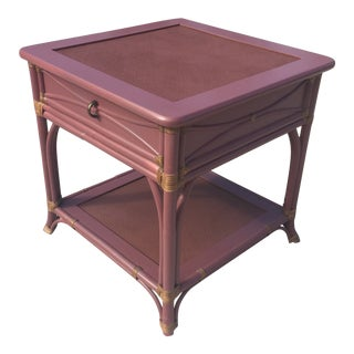 Hollywood Regency Bernhardt Lacquered Rattan Side Table For Sale