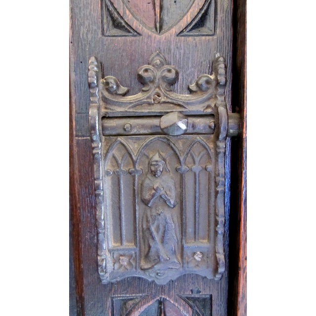 Gothic Gothic Revival Carved Oak Monastery Cabinet For Sale - Image 3 of 10