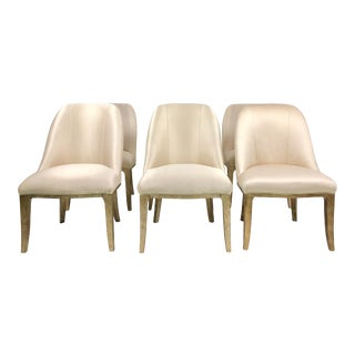 Contemporary Champagne Cream Upholstered Dining Chairs - Set of 6 For Sale