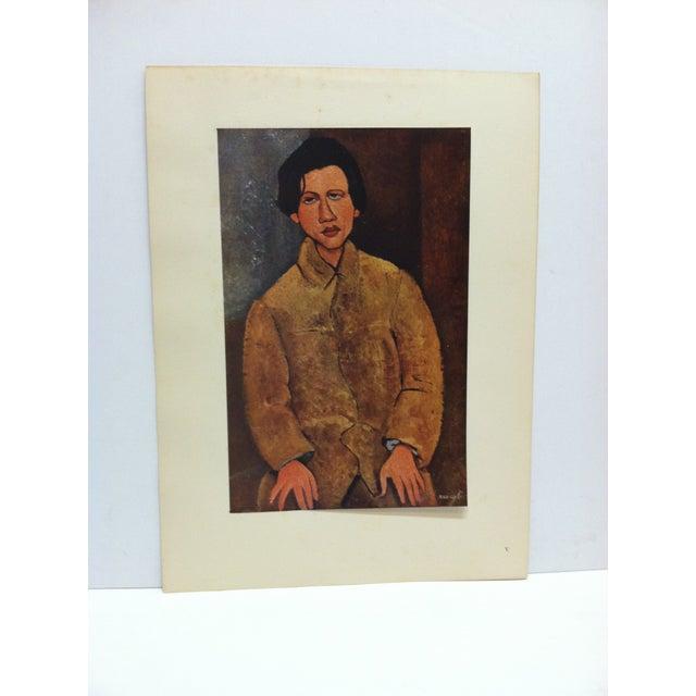"1947 Vintage ""Portrait De Soutine"" Modigliani French Mounted Color Print For Sale - Image 4 of 4"