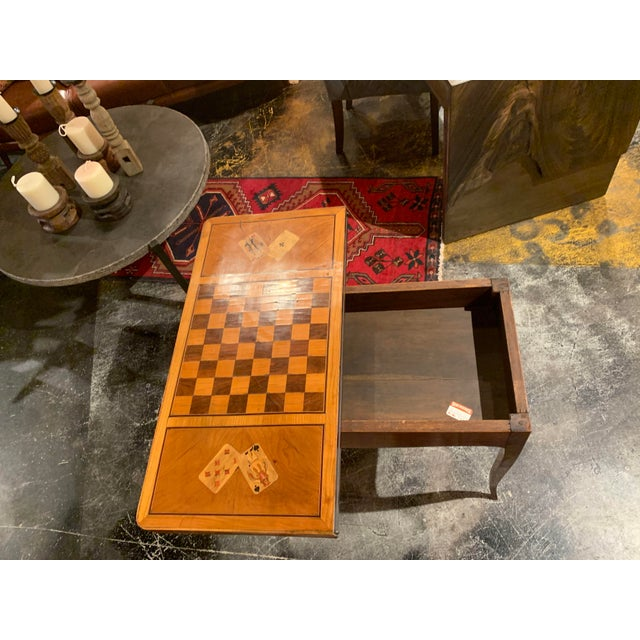 19th Century English Traditional Fruitwood Game Table With Inlay For Sale - Image 10 of 13