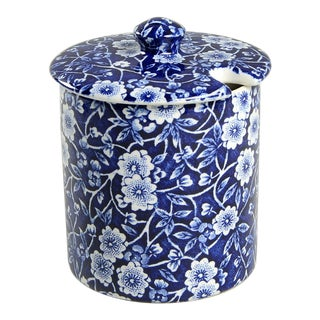 Staffordshire Calico Blue (Burleigh Stamp) Jam/Jelly & Lid For Sale
