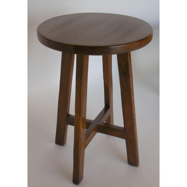 Modern Custom Round Walnut Wood Side or End Table For Sale - Image 3 of 6