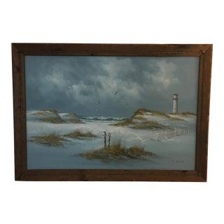Antique Vintage Oil Painting Signed C. Melton-Beach For Sale