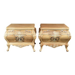 Louis XV Style French Provincial Pol-Wheat Nightstands - a Pair For Sale