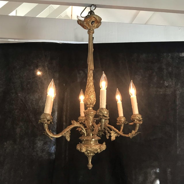 Bronze French Gold Gilt Bronze Six-Arm Chandelier For Sale - Image 8 of 8