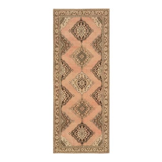 Vintage Turkish Peach and Brown Runner Rug - 4′10″ × 12′1″