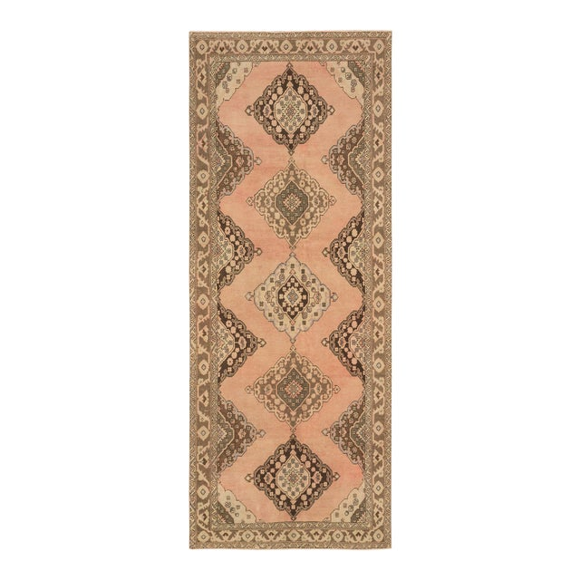 Vintage Turkish Peach and Brown Runner Rug - 4′10″ × 12′1″ For Sale