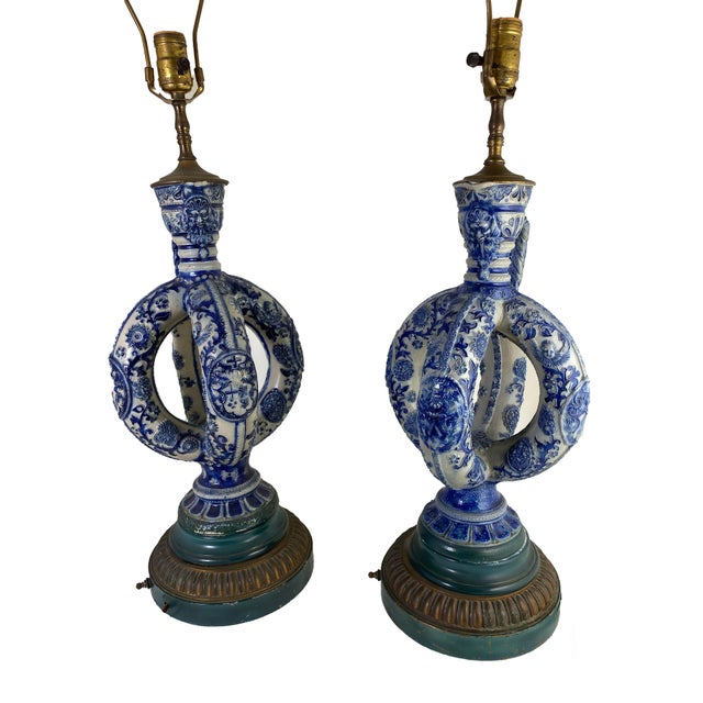 """Cobalt Blue Salt Glazed German Double Ring Flask As Lamps Westerwald Stoneware Pottery Circa 1890 - 1900 19.25"""" High ~ Top..."""