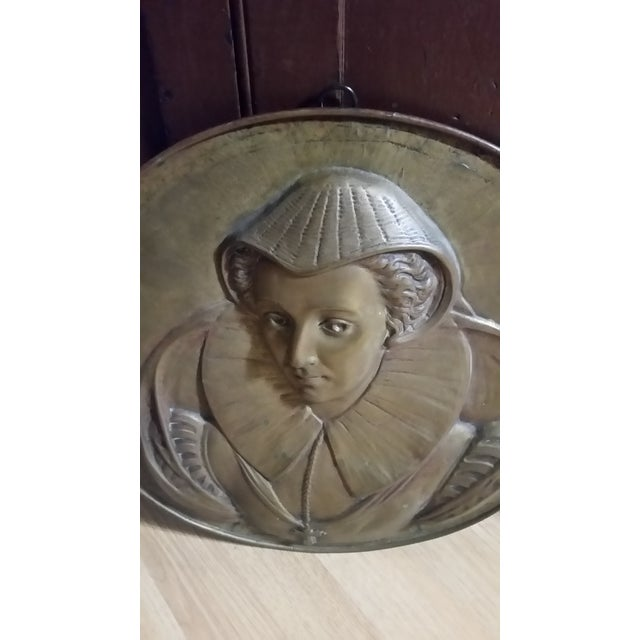 Portraiture Vintage Mary Queen of Scots Bronze Decorative Hanging Plate For Sale - Image 3 of 8