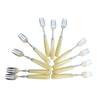 1940s French Bakelite and Stainless Steel Fish/Dessert Forks - Set of 12 For Sale
