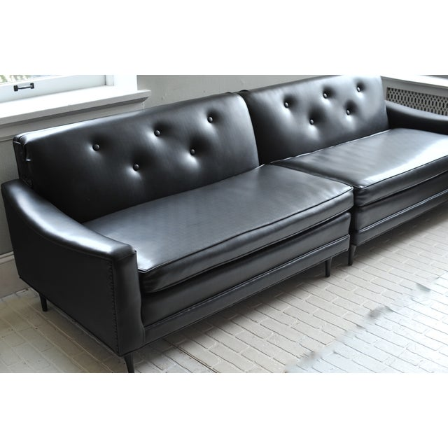Black Mid-Century Milo Baughman 2 Piece Sectional For Sale - Image 8 of 11