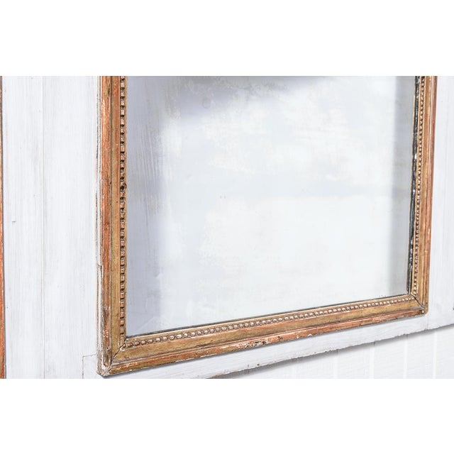 Glass Antique Trumeau Mirror With Painting For Sale - Image 7 of 8