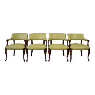 Elegant Set of (4) Celedon Green Leather W Hunter Green Piping Upholstered Bergere Chairs