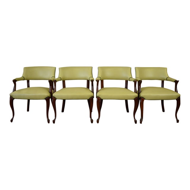 Elegant Set of (4) Celedon Green Leather W Hunter Green Piping Upholstered Bergere Chairs For Sale