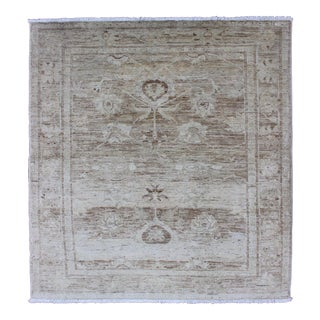 Nearly-Square Tabriz Rug From Afghanistan in Earth Tones, Taupe, Gray & Khaki For Sale